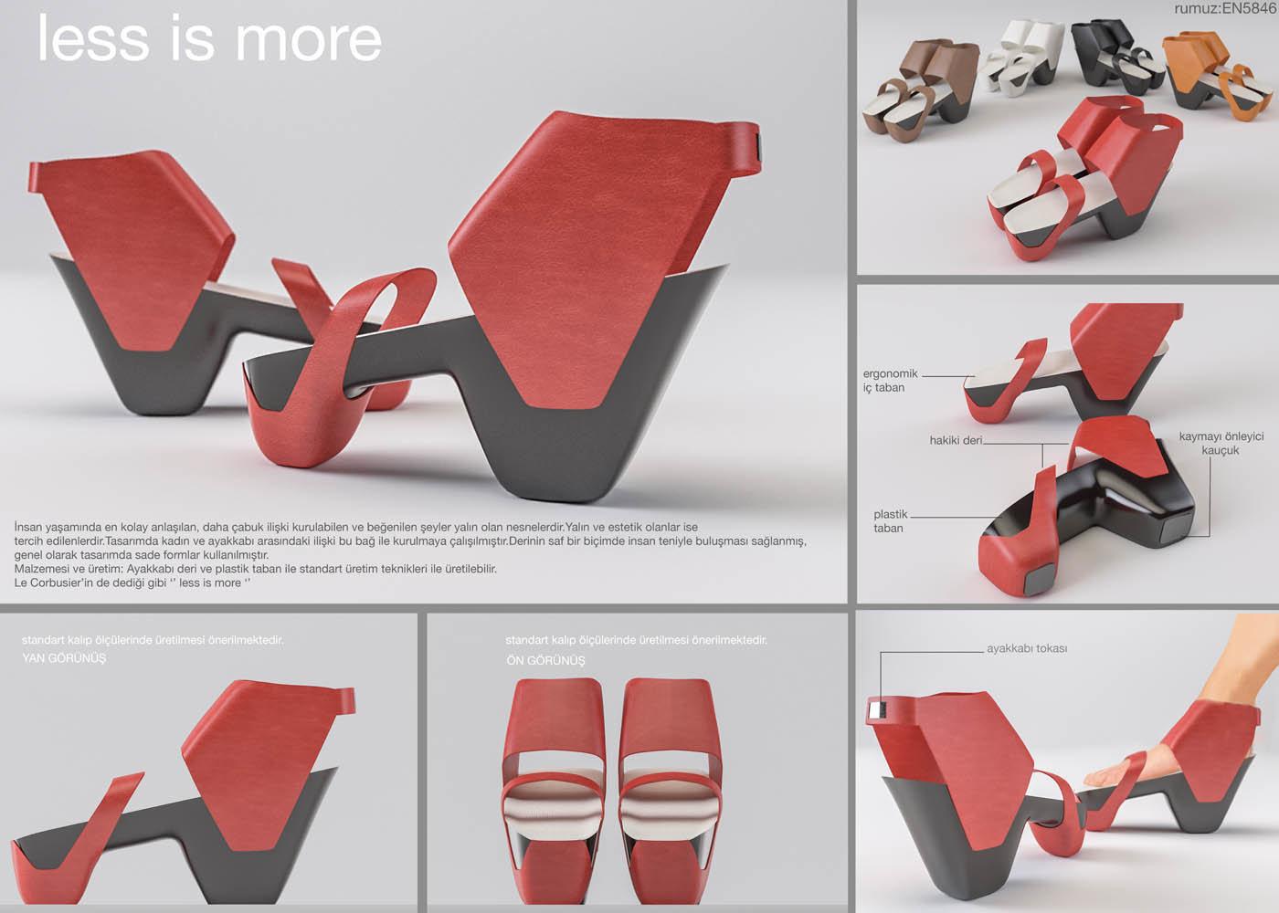 3. Detay Deri Ürünleri Tasarımı Yarışması 2014 Kategori: Ayakkabı Kategorisi Derece: Finalist Yarışmacı Ekip: Emel Topuz, Nazım Dağdeviren Proje Adı : Less Is More